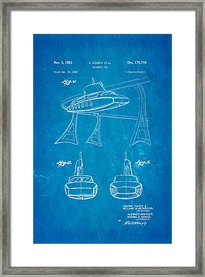 Cohen Monorail Toy Patent Art 1953 Blueprint Framed Print by Ian Monk