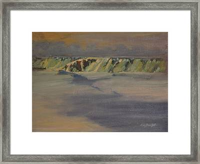 Framed Print featuring the painting Cohoes Falls In Winter by Len Stomski