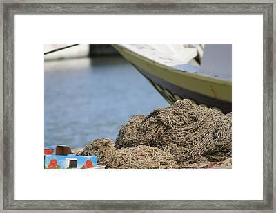 Coiled Fisherman's Net Framed Print by Phoenix De Vries