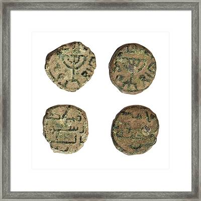 Coin Depicting Menorah Framed Print