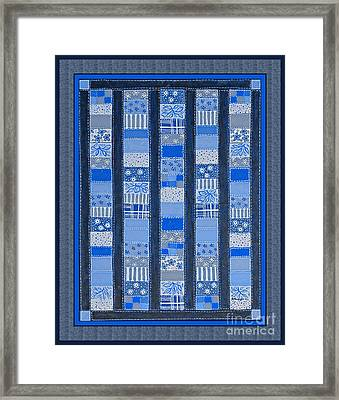 Coin Quilt -  Painting - Blue Patches Framed Print by Barbara Griffin