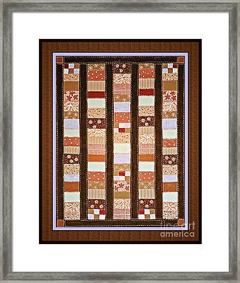 Coin Quilt -  Painting - Brown And White Patches Framed Print
