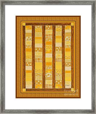 Coin Quilt -  Painting - Yellow Patches Framed Print by Barbara Griffin