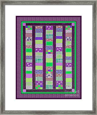 Coin Quilt - Quilt Painting - Purple And Green Patches Framed Print