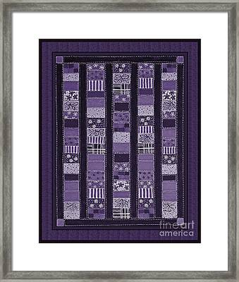 Coin Quilt -quilt Painting - Purple Patches Framed Print by Barbara Griffin