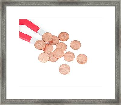 Coins Attracted By Horseshoe Magnet Framed Print by Dorling Kindersley/uig