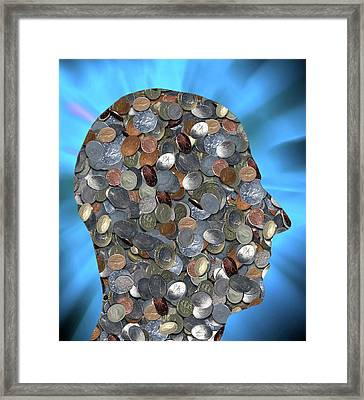 Coins In The Shape Of A Human Head Framed Print by Victor De Schwanberg
