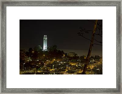 Coit Tower By Night Framed Print