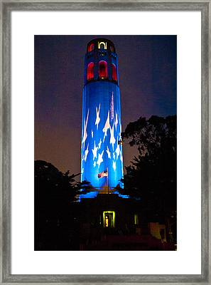 Coit Tower On The Anniversary Of 9/11 Framed Print