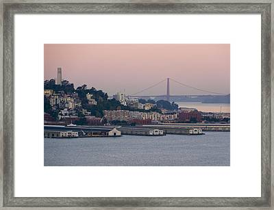 Coit Tower Sits Prominently On Top Of Telegraph Hill In San Francisco Framed Print by Scott Lenhart