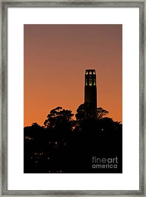 Framed Print featuring the photograph Coit Tower Sunset by Kate Brown