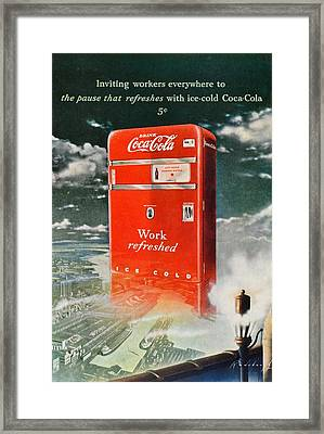 Coke - Coca Cola Vintage Advert Framed Print by Georgia Fowler