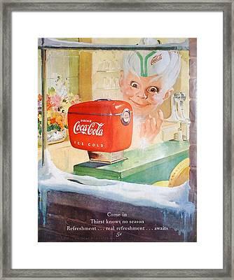Coke Gremlin In Winter Framed Print