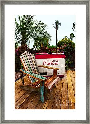 Vintage Coke Machine With Adirondack Chair Framed Print