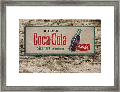 Cola Sign Framed Print by Bill Jonas