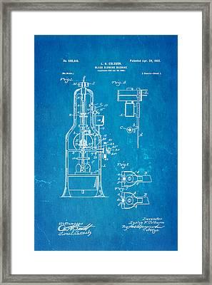 Colburn Glass Blowing Machine Patent Art 1902 Blueprint Framed Print by Ian Monk