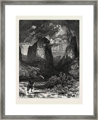 Colburns Butte, In Kannarro Canyon. Thomas Moran February 12 Framed Print by American School