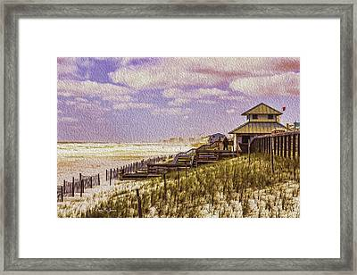 Waterfront - Coastal - Cold And Windy At The Beach Framed Print by Barry Jones