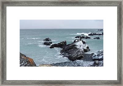 Cold Atlantic Rocks Framed Print by Bozena Zajaczkowska