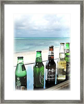 Cold Beers In Paradise Framed Print by Joan  Minchak