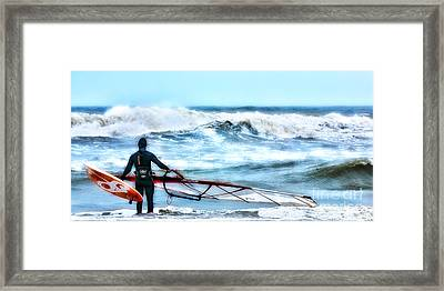 Cold Feet - Stormy Seas - Outer Banks Framed Print by Dan Carmichael