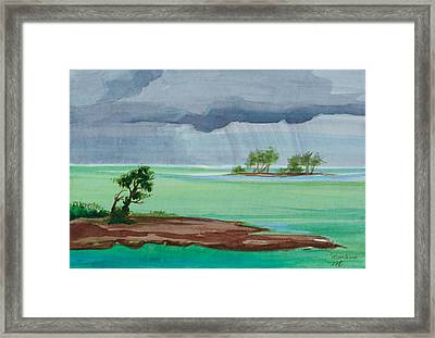 Cold Front In Islamorada Watercolor Painting Framed Print by Michelle Wiarda