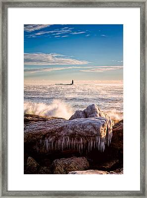 Cold Morning Lighthouse Framed Print by Jeff Sinon