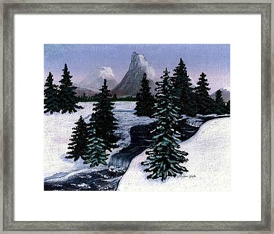 Cold Mountain Brook Painterly Framed Print by Barbara Griffin