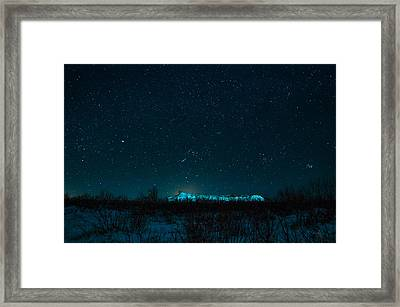 Cold Night On The Saddle Horn Framed Print