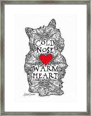 Framed Print featuring the drawing Cold Nose Warm Heart by Melissa Sherbon