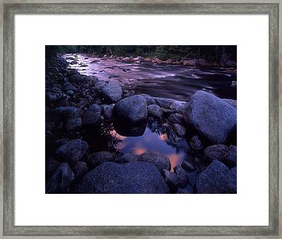Cold River Sunset Framed Print