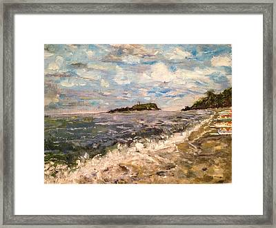 Cold Sea On A Sunny Day Framed Print by Belinda Low