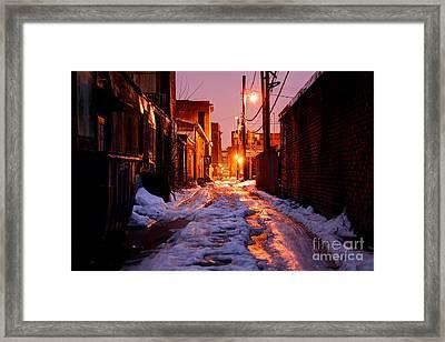 Cold Urban Alleyway Framed Print by Denis Tangney Jr