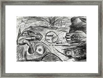 Cold War Disco Monster Awakens From The H Bomb Drawing Framed Print by Don Lee