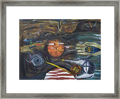 Cold War Disco Monster Awakens From The H Bomb Landing Near It's Ear Framed Print by Don Lee