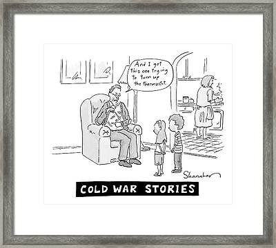 Cold War Stories. An Old Man Shows Children Scars Framed Print