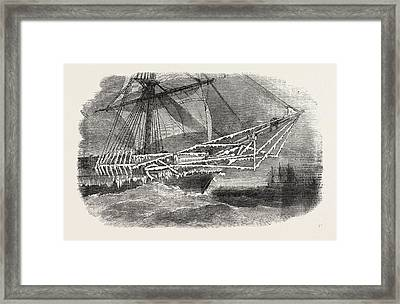 Cold Weather In The Baltic Bows Of H.m. Corvette Cruiser Framed Print by English School