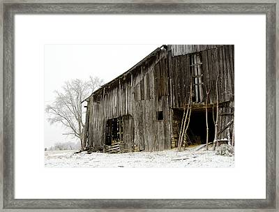 Cold Winter At The Barn  Framed Print by Wilma  Birdwell