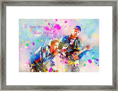 Coldplay Lyrics Framed Print by Rosalina Atanasova
