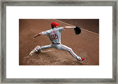 Cole Hamels - Pregame Warmup Framed Print by Stephen Stookey