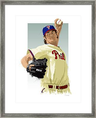 Cole Hamels Framed Print by Scott Weigner