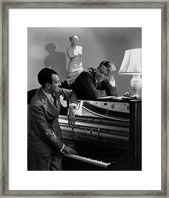 Cole Porter And Moss Hart At A Piano Framed Print by Lusha Nelson