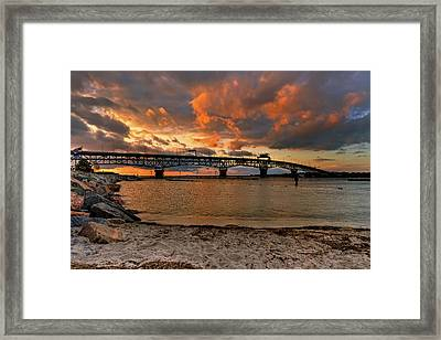 Coleman Bridge At Sunset Framed Print by Jerry Gammon