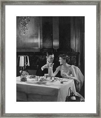 Colin Clive And Rose Hobart At Waldorf Framed Print by Edward Steichen