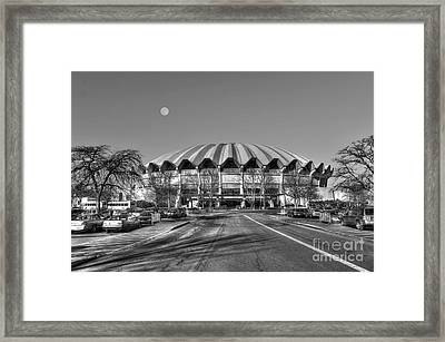 Framed Print featuring the photograph Coliseum B W With Moon by Dan Friend