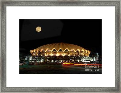 Framed Print featuring the photograph Coliseum Night With Full Moon by Dan Friend