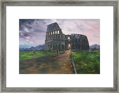 Framed Print featuring the painting Coliseum Rome by Jean Walker