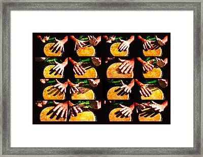 Collage Drum Bang Boom Yellow Framed Print
