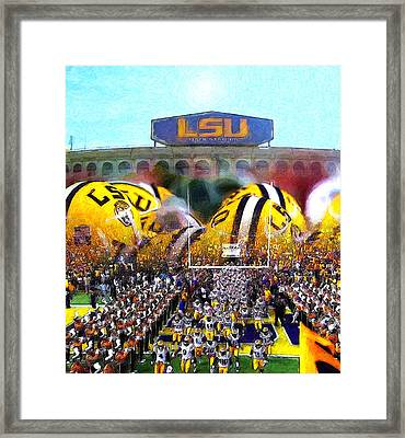 Collage Lsu Tigers Framed Print by John Farr