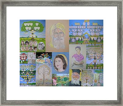 Collage Of Family Trees And Portraits Created By Www.family-tree-art.com Framed Print